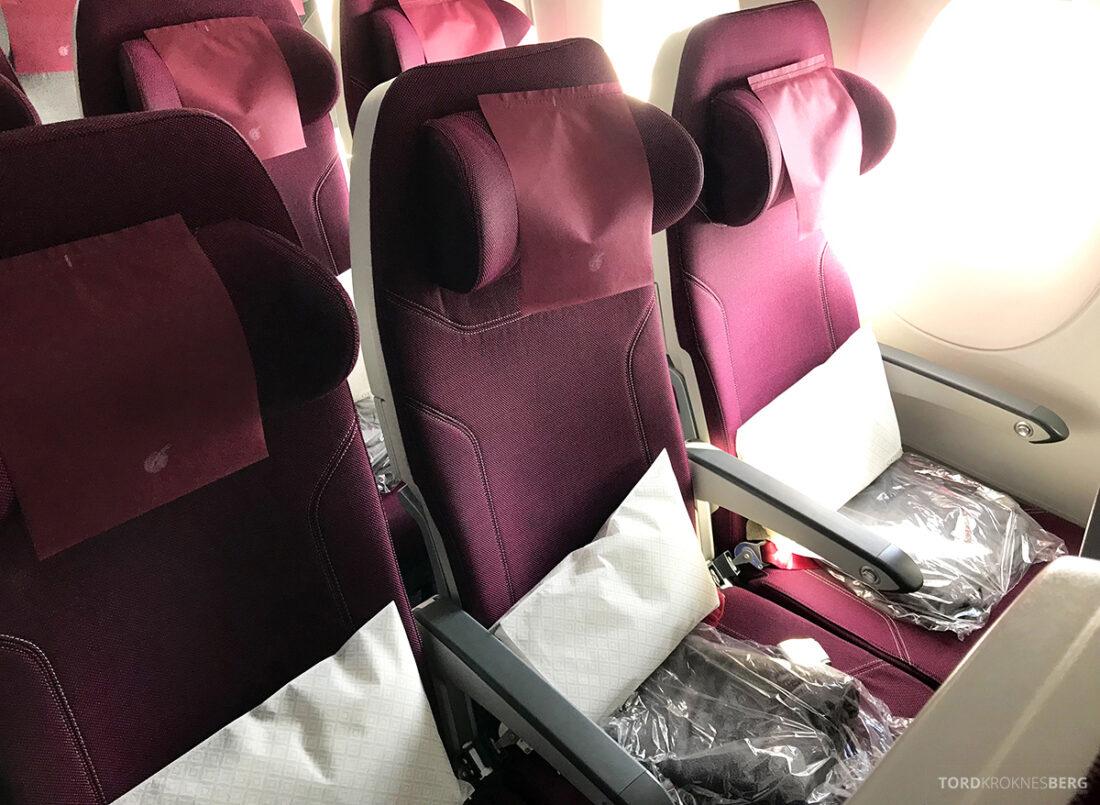 Qatar Airways Economy Class Doha Oslo seterad