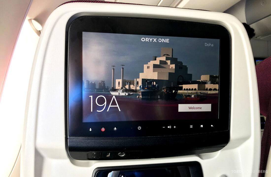 Qatar Airways Economy Class Doha Oslo skjerm