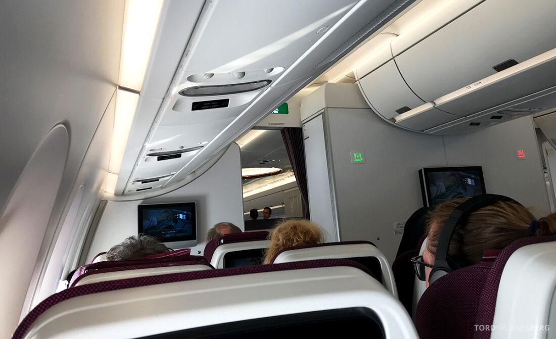 Qatar Airways Economy Class Doha Oslo kabin