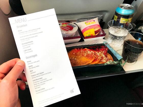 Qatar Airways Economy Class Doha Oslo meny og mat