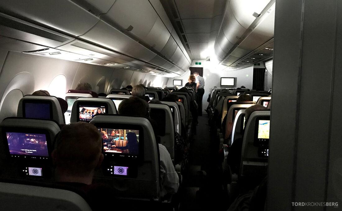 Qatar Airways Economy Class Doha Oslo kabin underveis