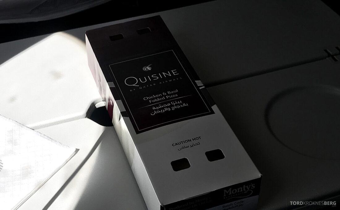 Qatar Airways Economy Class Doha Oslo mellomåltid