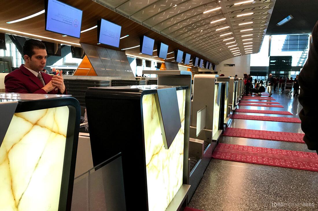 Qatar Airways Economy Class Doha Oslo teppe innsjekk