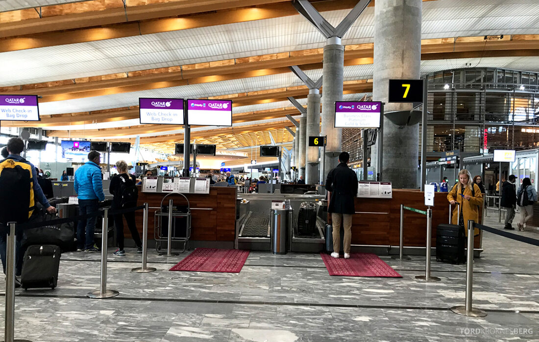 Qatar Airways Economy Class Oslo Doha innsjekk Gardermoen