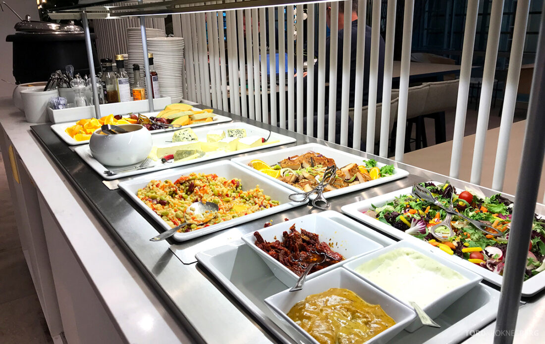 Qatar Airways Economy Class Oslo Doha OSL Lounge buffet