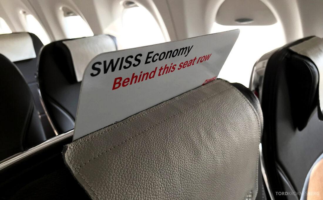 SWISS Economy Class Kiev Zürich Oslo skilt