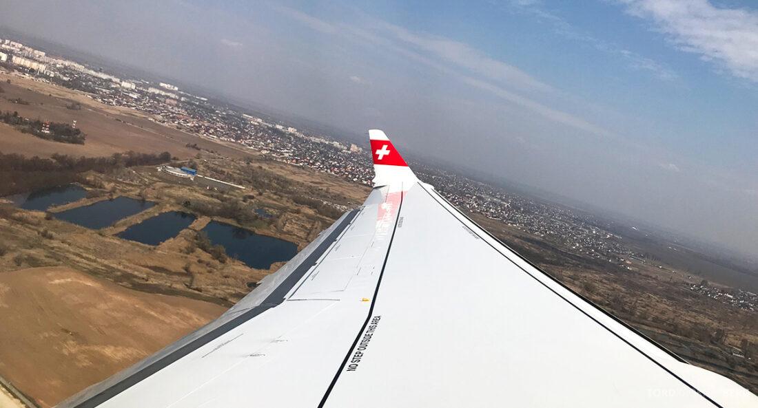 SWISS Economy Class Kiev Zürich Oslo landing