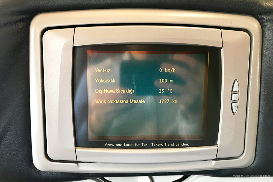 Turkish Airlines Economy Class Istanbul Baku skjerm