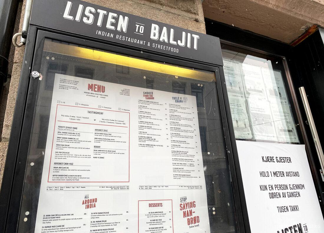 Listen To Baljit Restaurant Frogner Oslo meny utenfor