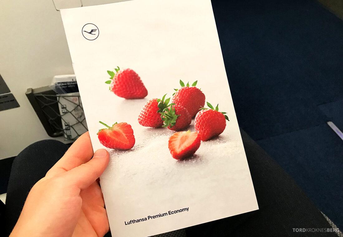 Lufthansa Premium Economy Class Oslo Frankfurt Los Angeles meny