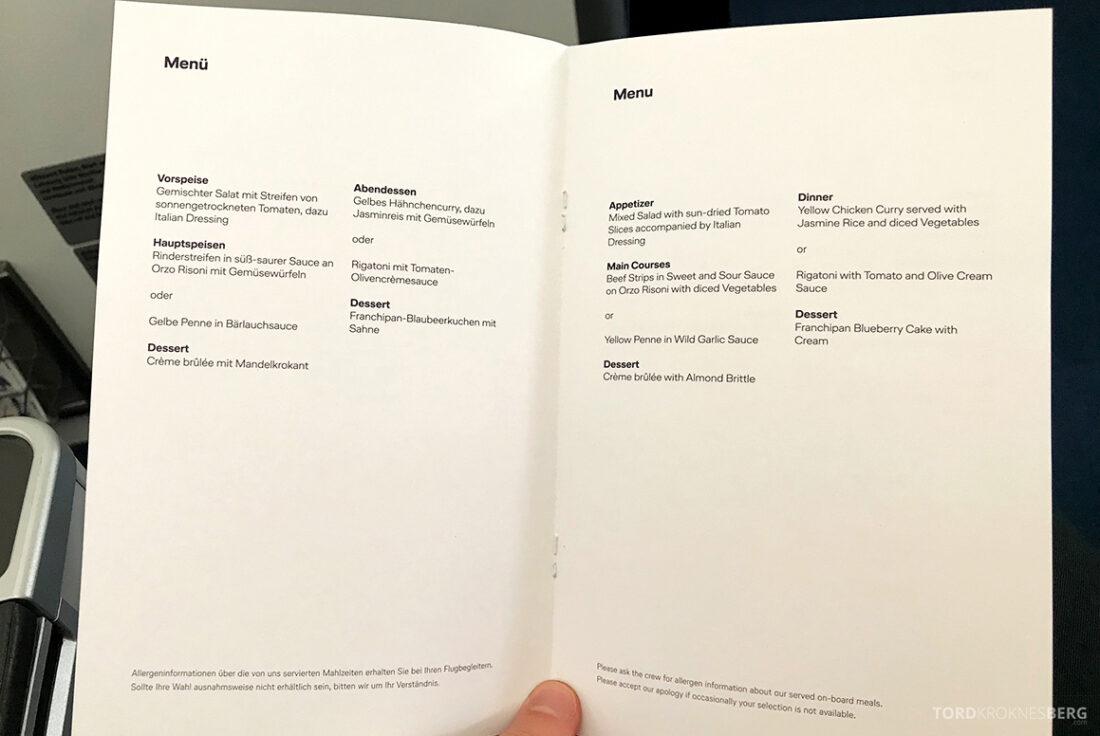 Lufthansa Premium Economy Class Oslo Frankfurt Los Angeles middagsmeny