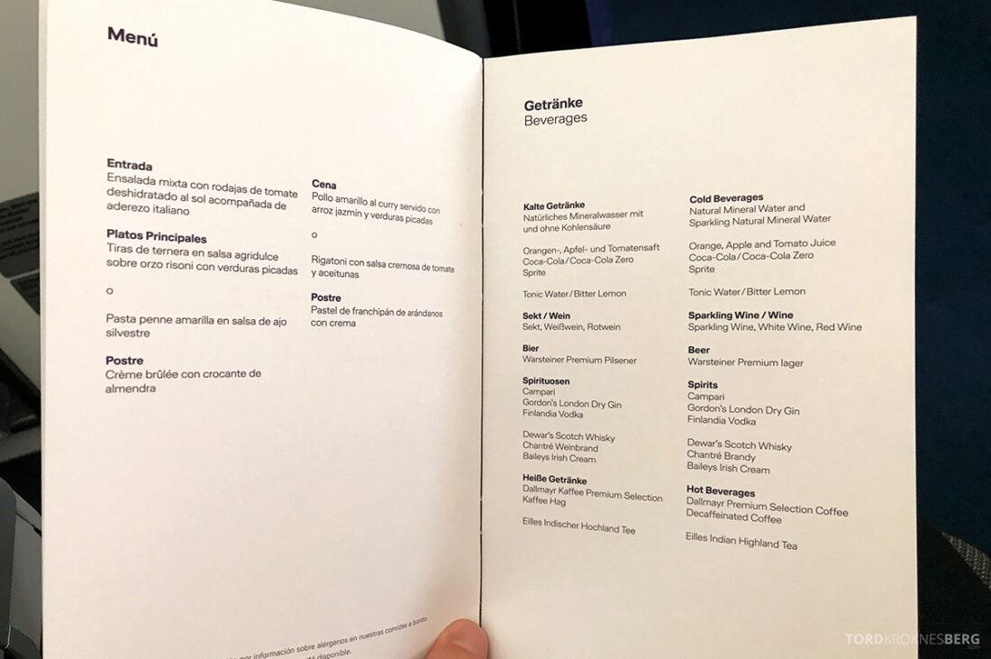 Lufthansa Premium Economy Class Oslo Frankfurt Los Angeles meny drikke