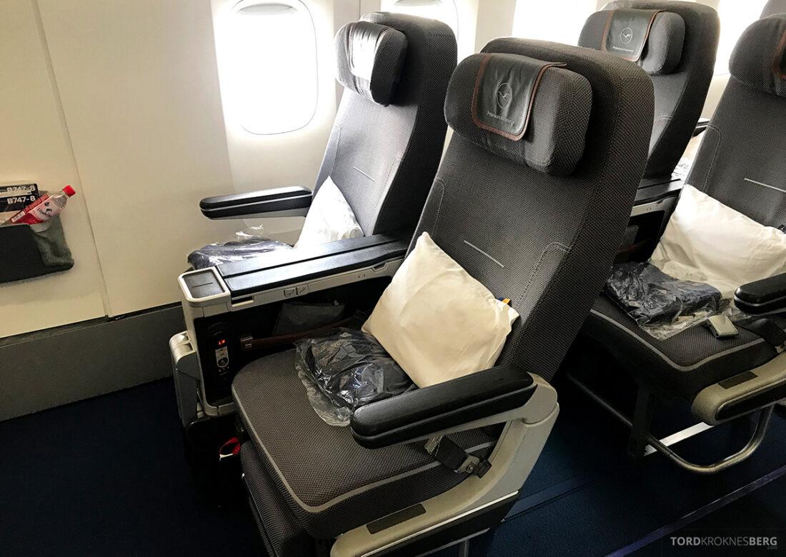 Lufthansa Premium Economy Class Oslo Frankfurt Los Angeles seter