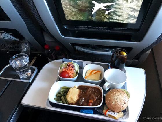 Lufthansa Premium Economy Los Angeles Oslo middag
